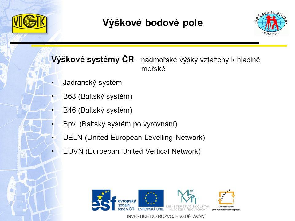 Výškové systémy ČR - nadmořské výšky vztaženy k hladině mořské Jadranský systém B68 (Baltský systém) B46 (Baltský systém) Bpv. (Baltský systém po vyro