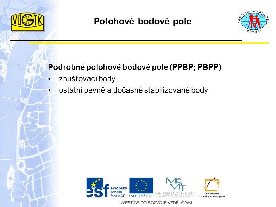 Polohové bodové pole Podrobné polohové bodové pole (PPBP; PBPP) zhušťovací body ostatní pevně a dočasně stabilizované body