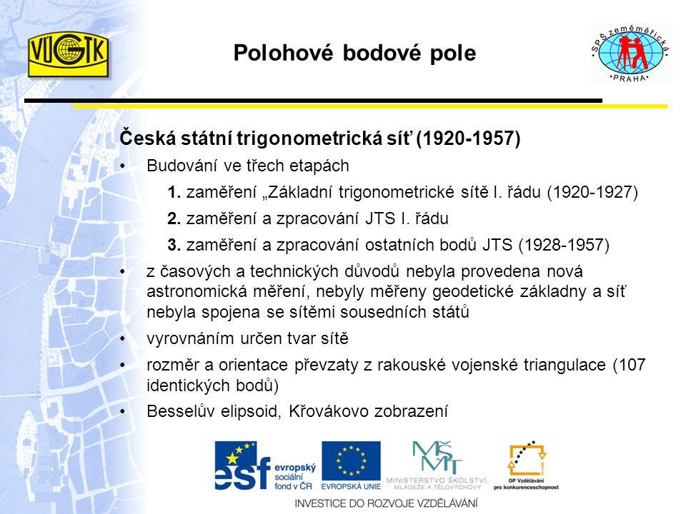 """Polohové bodové pole Česká státní trigonometrická síť (1920-1957) Budování ve třech etapách 1. zaměření """"Základní trigonometrické sítě I. řádu (1920-1"""