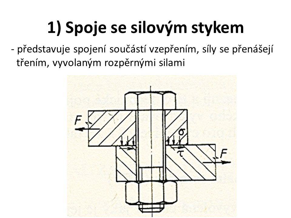 1) Spoje se silovým stykem - představuje spojení součástí vzepřením, síly se přenášejí třením, vyvolaným rozpěrnými silami