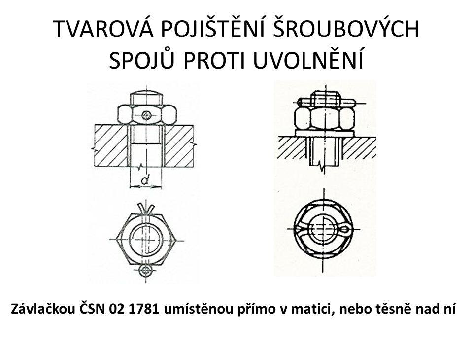 TVAROVÁ POJIŠTĚNÍ ŠROUBOVÝCH SPOJŮ PROTI UVOLNĚNÍ Závlačkou ČSN 02 1781 umístěnou přímo v matici, nebo těsně nad ní