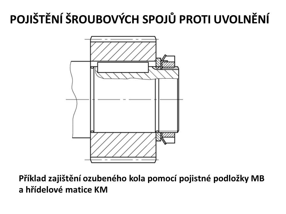 POJIŠTĚNÍ ŠROUBOVÝCH SPOJŮ PROTI UVOLNĚNÍ Příklad zajištění ozubeného kola pomocí pojistné podložky MB a hřídelové matice KM
