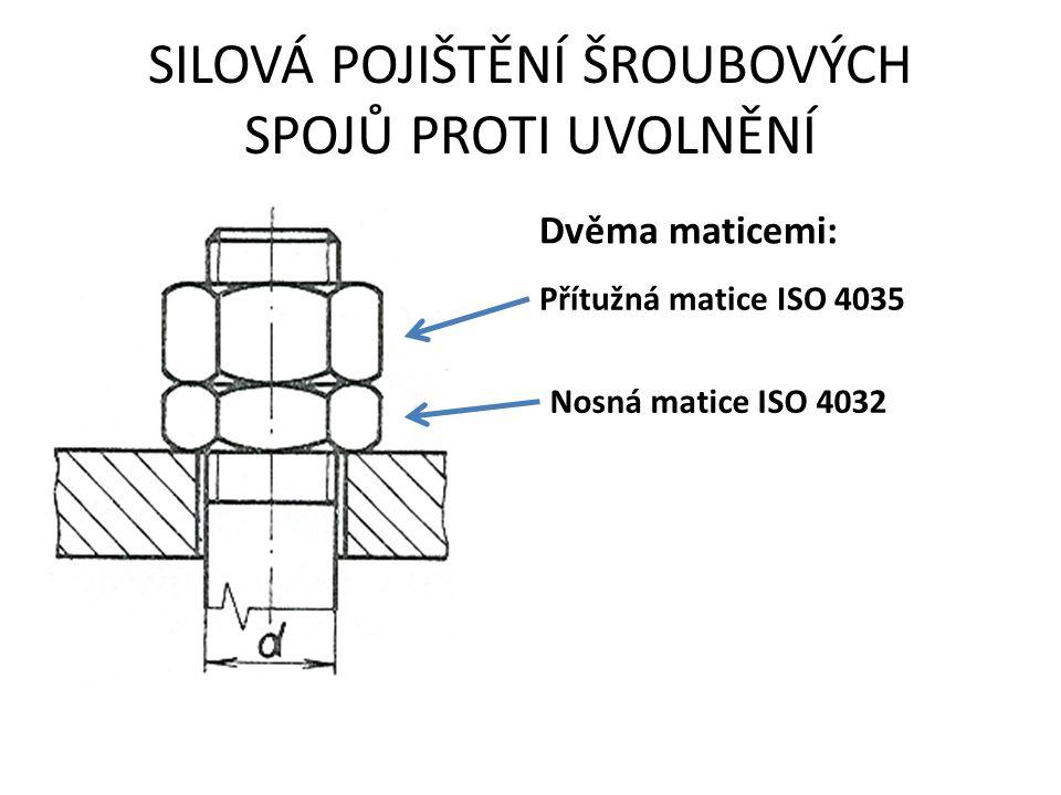 Dvěma maticemi: Přítužná matice ISO 4035 Nosná matice ISO 4032