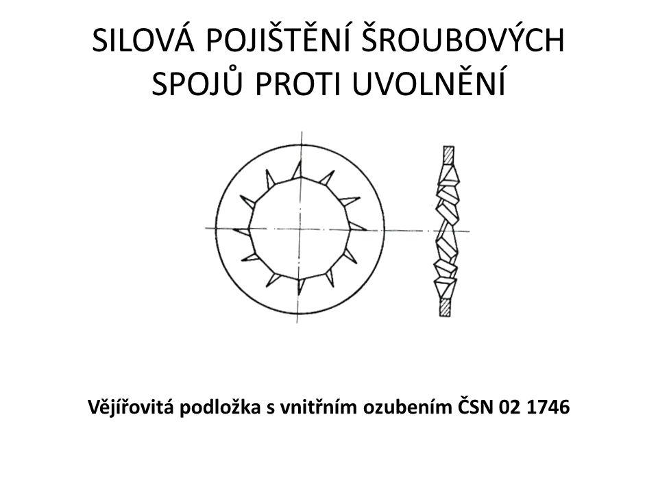 SILOVÁ POJIŠTĚNÍ ŠROUBOVÝCH SPOJŮ PROTI UVOLNĚNÍ Vějířovitá podložka s vnitřním ozubením ČSN 02 1746