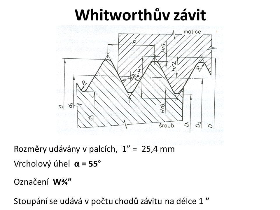 """Whitworthův závit Rozměry udávány v palcích, 1"""" = 25,4 mm Vrcholový úhel α = 55° Označení W¾"""" Stoupání se udává v počtu chodů závitu na délce 1 """""""