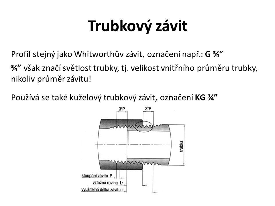 """Trubkový závit Profil stejný jako Whitworthův závit, označení např.: G ¾"""" ¾"""" však značí světlost trubky, tj. velikost vnitřního průměru trubky, nikoli"""