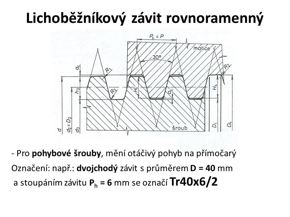 Lichoběžníkový závit rovnoramenný - Pro pohybové šrouby, mění otáčivý pohyb na přímočarý Označení: např.: dvojchodý závit s průměrem D = 40 mm a stoup