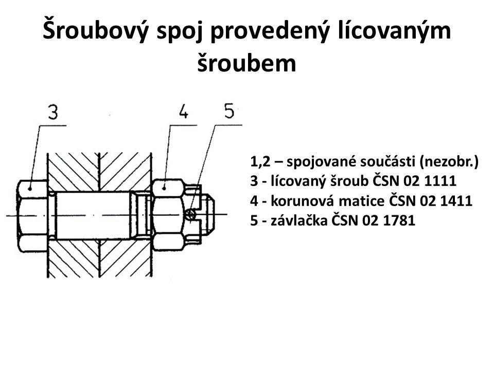 Šroubový spoj provedený lícovaným šroubem 1,2 – spojované součásti (nezobr.) 3 - lícovaný šroub ČSN 02 1111 4 - korunová matice ČSN 02 1411 5 - závlač