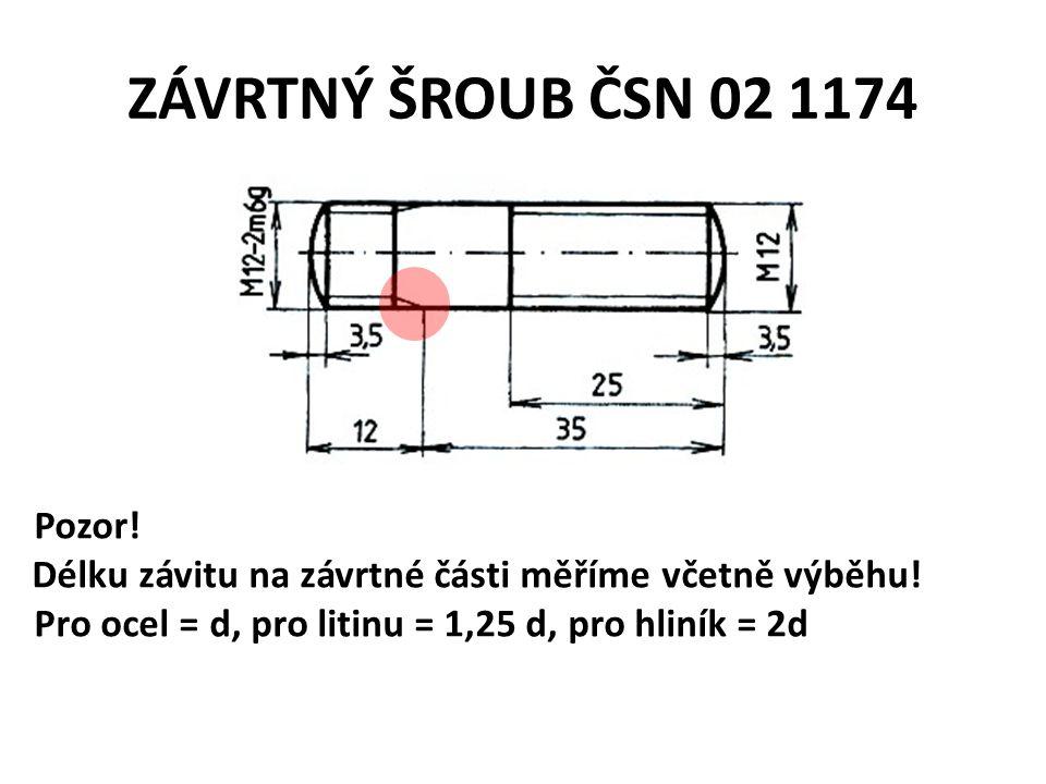ZÁVRTNÝ ŠROUB ČSN 02 1174 Pozor! Délku závitu na závrtné části měříme včetně výběhu! Pro ocel = d, pro litinu = 1,25 d, pro hliník = 2d