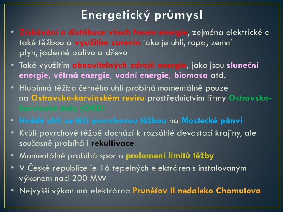 Získávání a distribuce všech forem energie, zejména elektrické a také těžbou a využitím surovin jako je uhlí, ropa, zemní plyn, jaderné palivo a dřevo