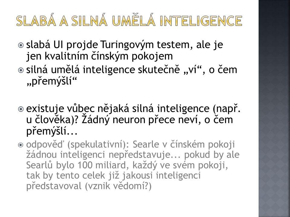 """ slabá UI projde Turingovým testem, ale je jen kvalitním čínským pokojem  silná umělá inteligence skutečně """"ví , o čem """"přemýšlí  existuje vůbec nějaká silná inteligence (např."""