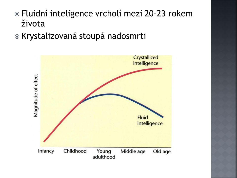  Fluidní inteligence vrcholí mezi 20-23 rokem života  Krystalizovaná stoupá nadosmrti