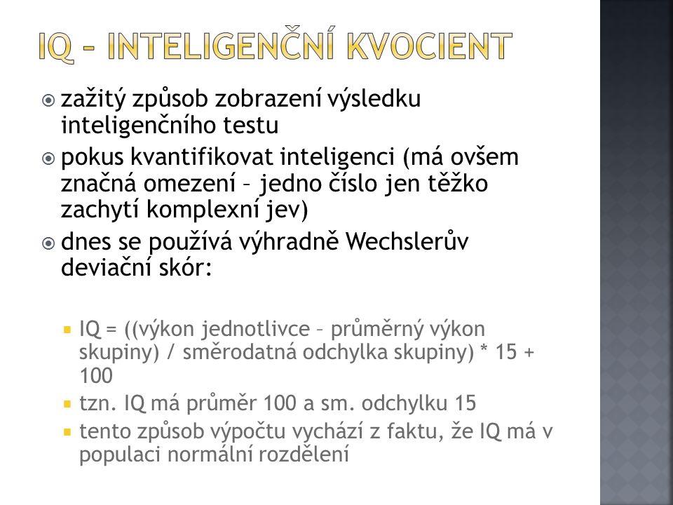  zažitý způsob zobrazení výsledku inteligenčního testu  pokus kvantifikovat inteligenci (má ovšem značná omezení – jedno číslo jen těžko zachytí komplexní jev)  dnes se používá výhradně Wechslerův deviační skór:  IQ = ((výkon jednotlivce – průměrný výkon skupiny) / směrodatná odchylka skupiny) * 15 + 100  tzn.