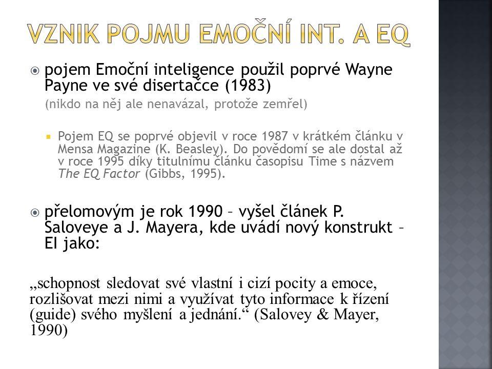  pojem Emoční inteligence použil poprvé Wayne Payne ve své disertačce (1983) (nikdo na něj ale nenavázal, protože zemřel)  Pojem EQ se poprvé objevil v roce 1987 v krátkém článku v Mensa Magazine (K.