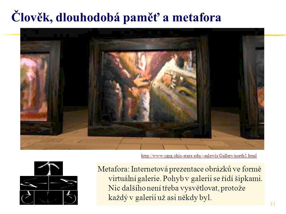 11 Člověk, dlouhodobá paměť a metafora Metafora: Internetová prezentace obrázků ve formě virtuální galerie. Pohyb v galerii se řídí šipkami. Nic další