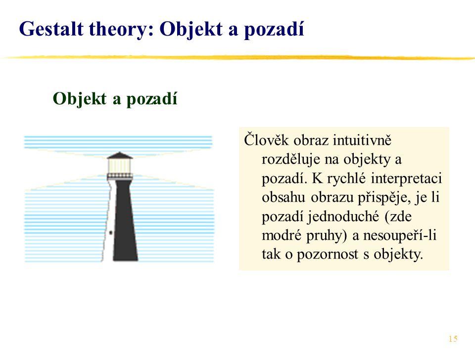 15 Gestalt theory: Objekt a pozadí Objekt a pozadí Člověk obraz intuitivně rozděluje na objekty a pozadí. K rychlé interpretaci obsahu obrazu přispěje