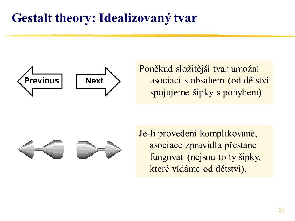 20 Gestalt theory: Idealizovaný tvar Poněkud složitější tvar umožní asociaci s obsahem (od dětství spojujeme šipky s pohybem). Je-li provedení komplik