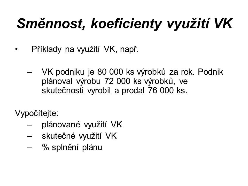 Směnnost, koeficienty využití VK Příklady na využití VK, např. –VK podniku je 80 000 ks výrobků za rok. Podnik plánoval výrobu 72 000 ks výrobků, ve s