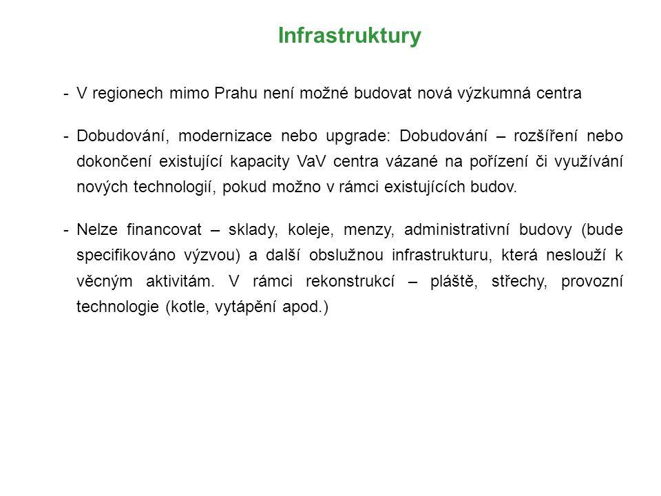 Infrastruktury -V regionech mimo Prahu není možné budovat nová výzkumná centra -Dobudování, modernizace nebo upgrade: Dobudování – rozšíření nebo doko