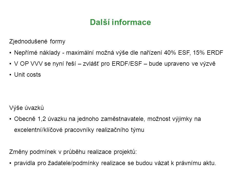 Další informace Zjednodušené formy Nepřímé náklady - maximální možná výše dle nařízení 40% ESF, 15% ERDF V OP VVV se nyní řeší – zvlášť pro ERDF/ESF –