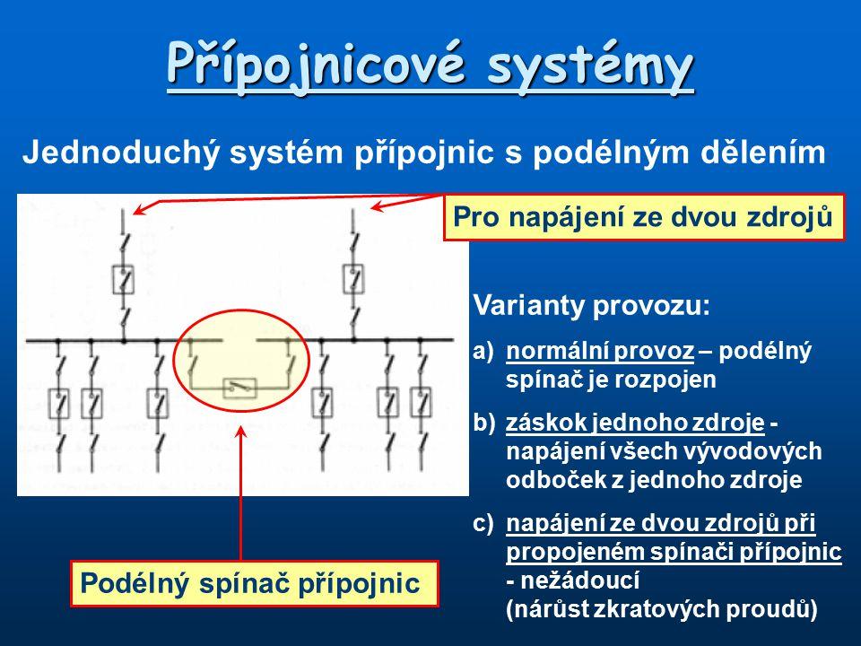 Přípojnicové systémy Jednoduchý systém přípojnic s podélným dělením Podélný spínač přípojnic Pro napájení ze dvou zdrojů Varianty provozu: a)normální