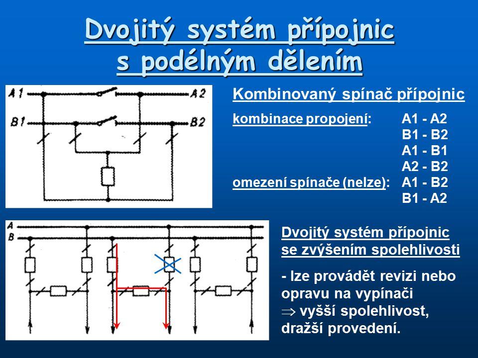 Dvojitý systém přípojnic s podélným dělením Kombinovaný spínač přípojnic kombinace propojení:A1 - A2 B1 - B2 A1 - B1 A2 - B2 omezení spínače (nelze):A