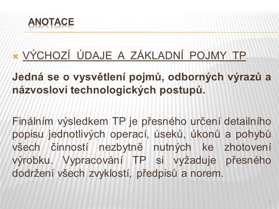 3 Výchozí údaje pro navrhování TP: 1.