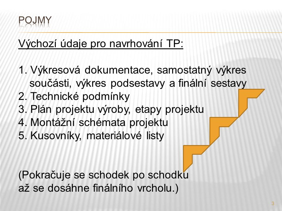 3 Výchozí údaje pro navrhování TP: 1. Výkresová dokumentace, samostatný výkres součásti, výkres podsestavy a finální sestavy 2. Technické podmínky 3.