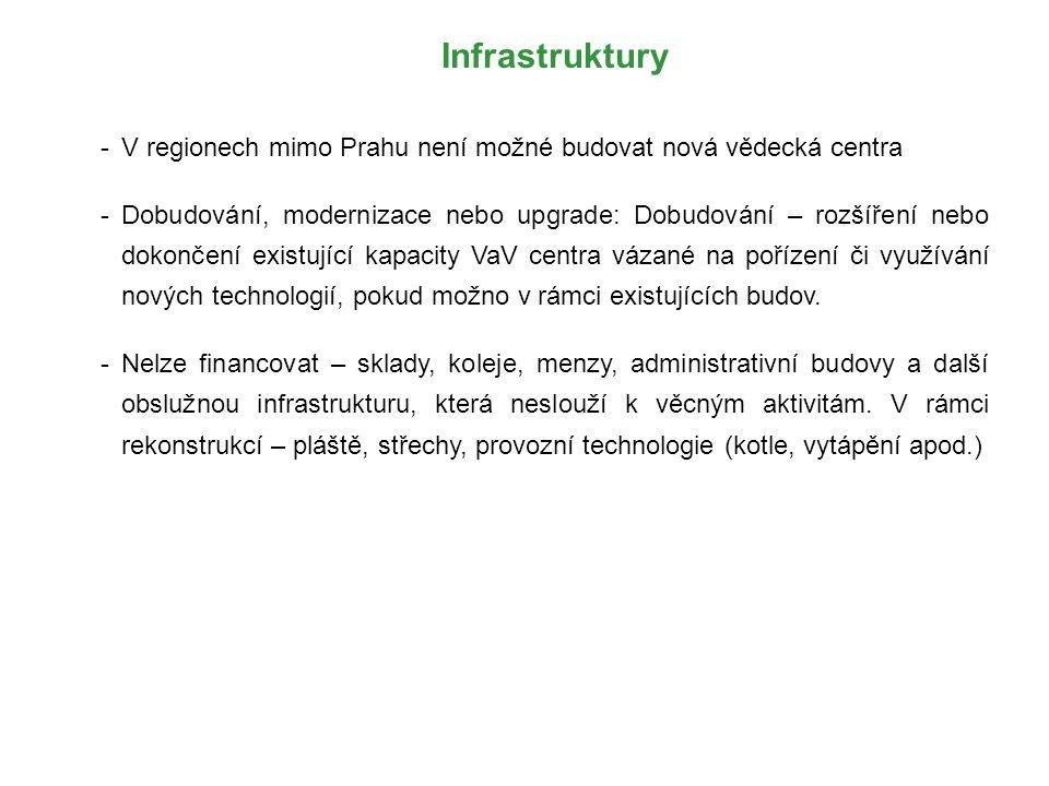 Infrastruktury -V regionech mimo Prahu není možné budovat nová vědecká centra -Dobudování, modernizace nebo upgrade: Dobudování – rozšíření nebo dokon