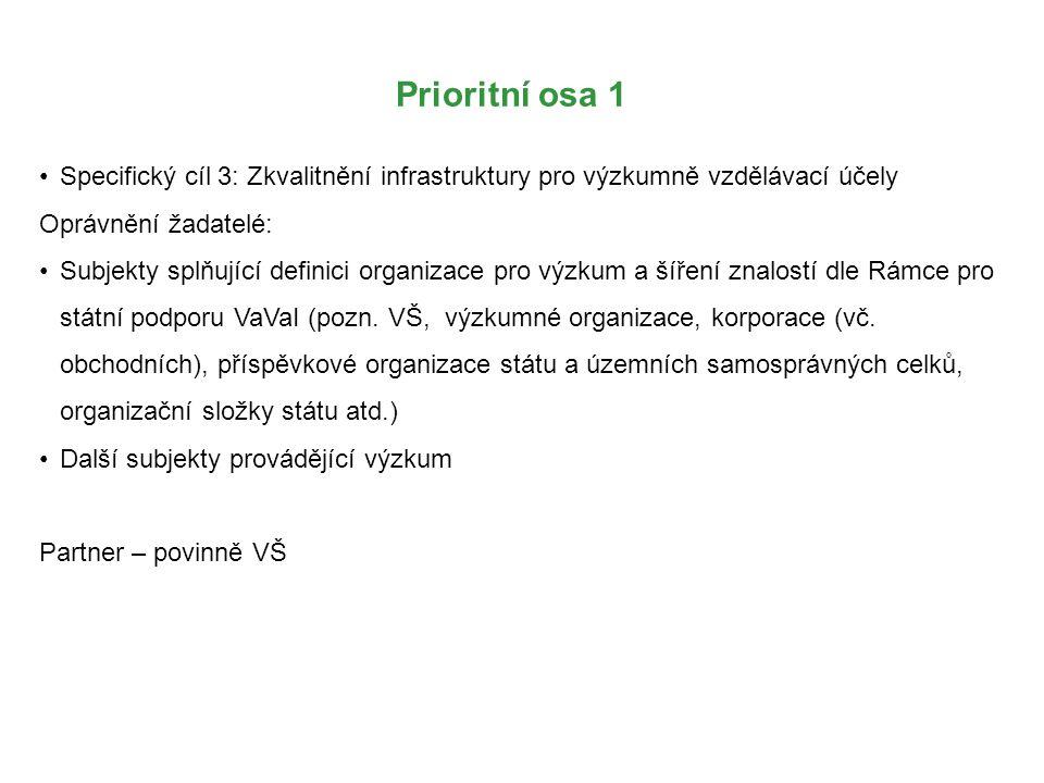 Prioritní osa 1 Specifický cíl 3: Zkvalitnění infrastruktury pro výzkumně vzdělávací účely Oprávnění žadatelé: Subjekty splňující definici organizace pro výzkum a šíření znalostí dle Rámce pro státní podporu VaVaI (pozn.