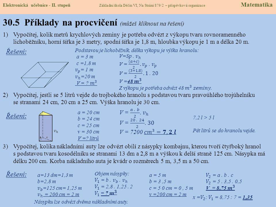 Elektronická učebnice - II. stupeň Základní škola Děčín VI, Na Stráni 879/2 – příspěvková organizace Matematika 30.4 Výpočty objemů hranolů