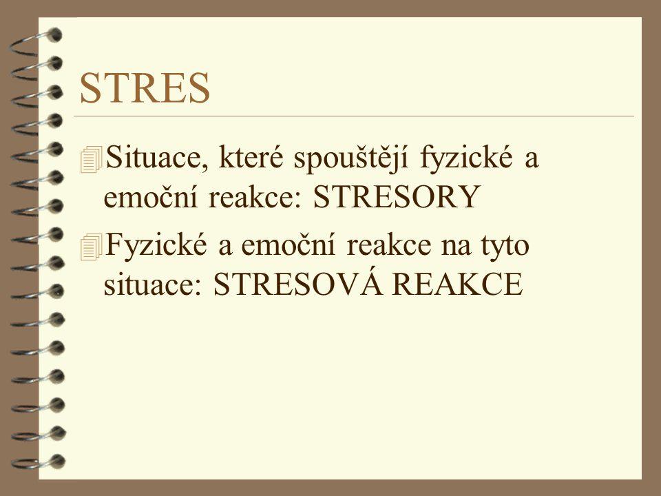 STRES 4 Situace, které spouštějí fyzické a emoční reakce: STRESORY 4 Fyzické a emoční reakce na tyto situace: STRESOVÁ REAKCE