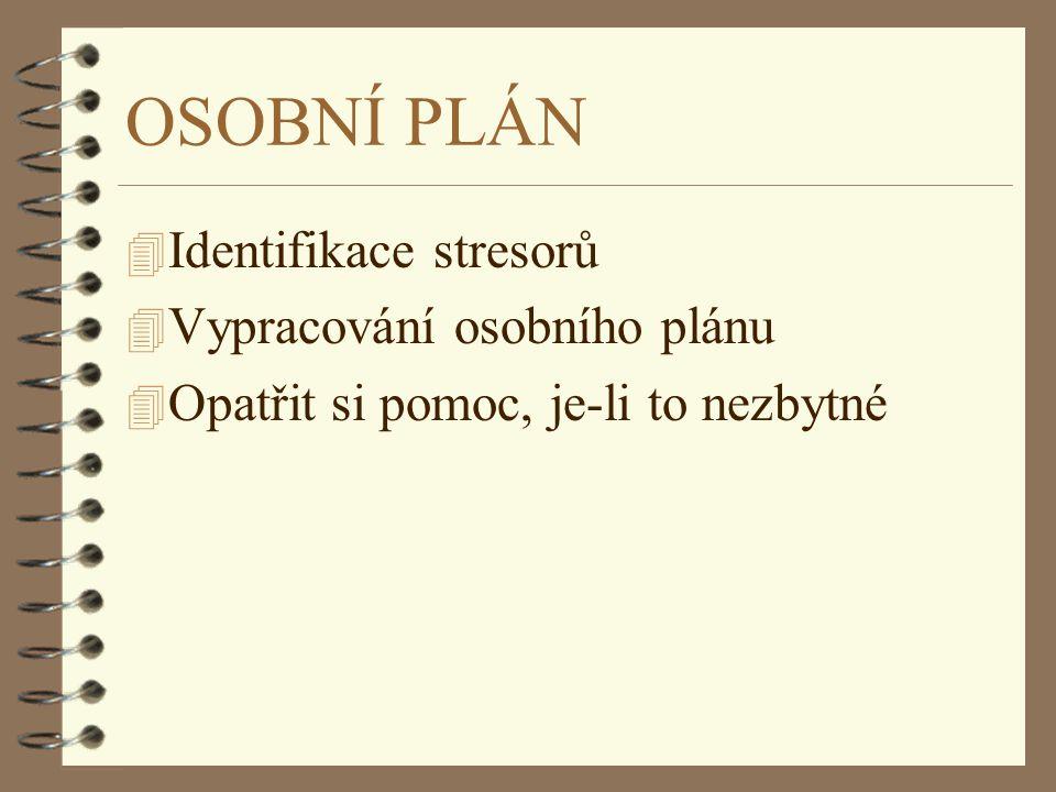 OSOBNÍ PLÁN 4 Identifikace stresorů 4 Vypracování osobního plánu 4 Opatřit si pomoc, je-li to nezbytné