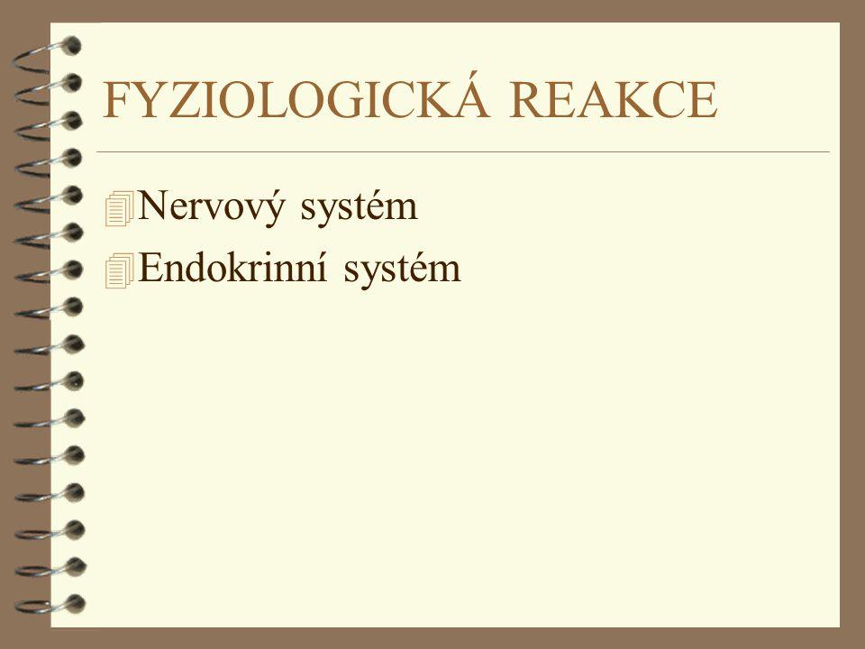 FÁZE VYČERPÁNÍ 4 Stres je příliš silný nebo trvá příliš dlouho nebo je sekrece kortizolu nějak narušená (poškození kůry nadledvin) 4 Vyčerpání energetických rezerv 4 Vyčerpání dalších regulačních mechanismů 4 Za určitou dobu působení vyvolává stres hypotenzi, šok, srdeční selhání