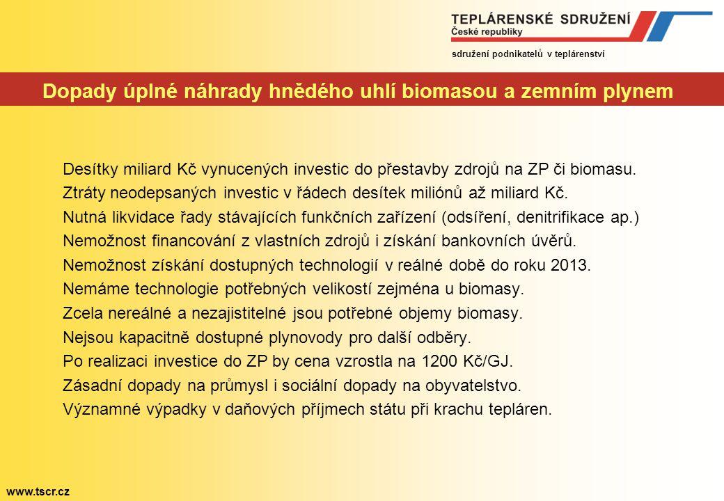 sdružení podnikatelů v teplárenství www.tscr.cz Studie pro Pašesovu komisi K vytěžení hnědého uhlí dojde dříve než se předpokládalo Očekávání ve využi