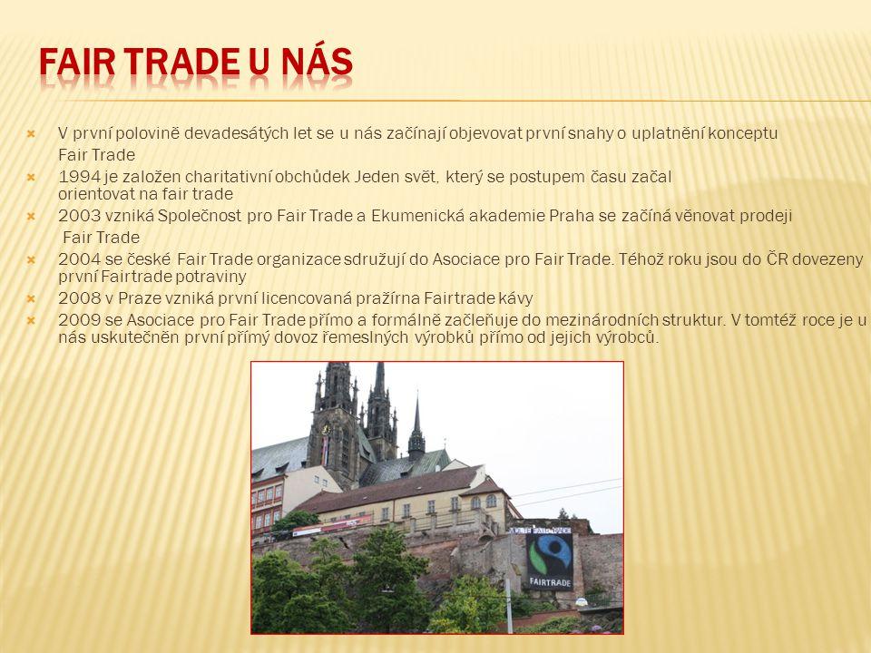  V první polovině devadesátých let se u nás začínají objevovat první snahy o uplatnění konceptu Fair Trade  1994 je založen charitativní obchůdek Je