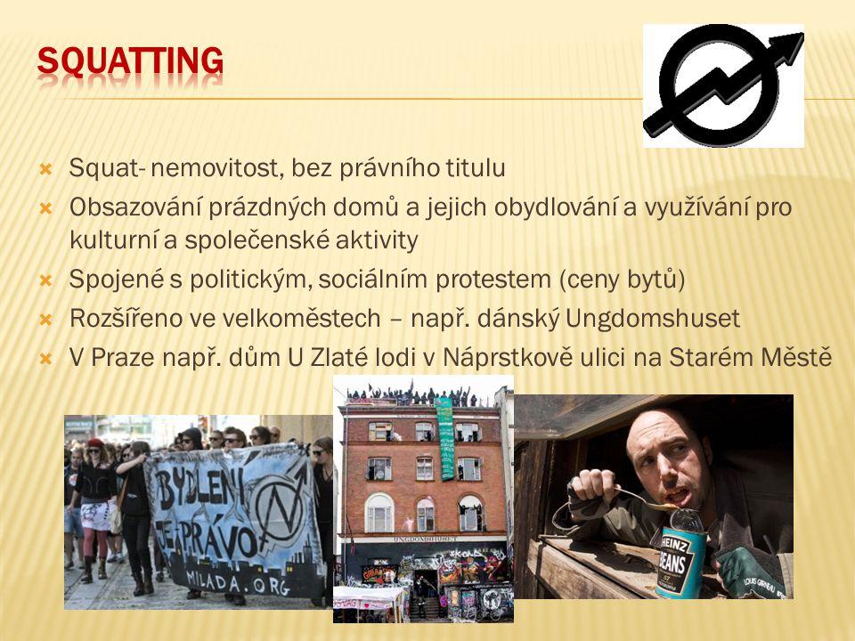  Squat- nemovitost, bez právního titulu  Obsazování prázdných domů a jejich obydlování a využívání pro kulturní a společenské aktivity  Spojené s p