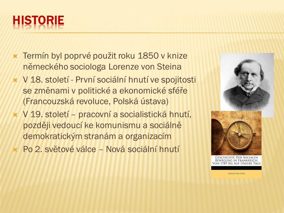  Termín byl poprvé použit roku 1850 v knize německého sociologa Lorenze von Steina  V 18. století - První sociální hnutí ve spojitosti se změnami v