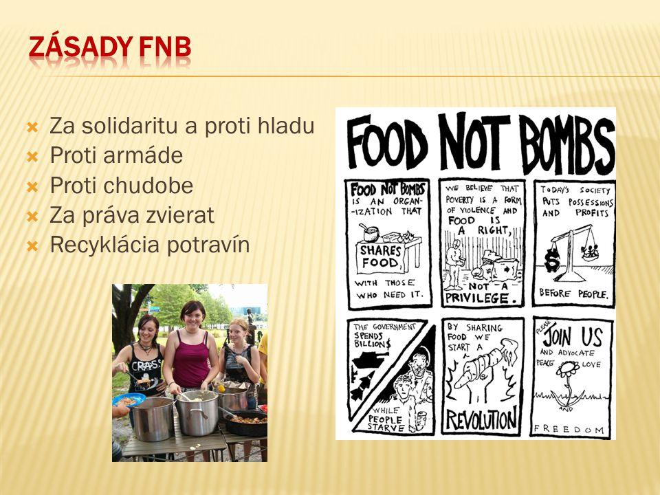  Prvá aktivita skupiny FNB v Brne prebehla v máji 2001, ako súčasť demonštrácií proti zbrojárskemu veľtrhu IDET  Od októbra 2001 rozdávajú aktvisti jedlo pravidelne každú prvú sobotu v mesiaci  FNB pôsobí v Česku ešte v Prahe, na SR v Bratislave