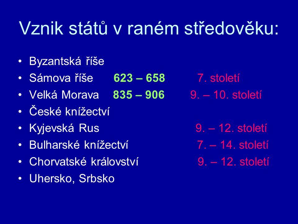 Vznik států v raném středověku: Byzantská říše Sámova říše 623 – 658 7. století Velká Morava 835 – 906 9. – 10. století České knížectví Kyjevská Rus 9