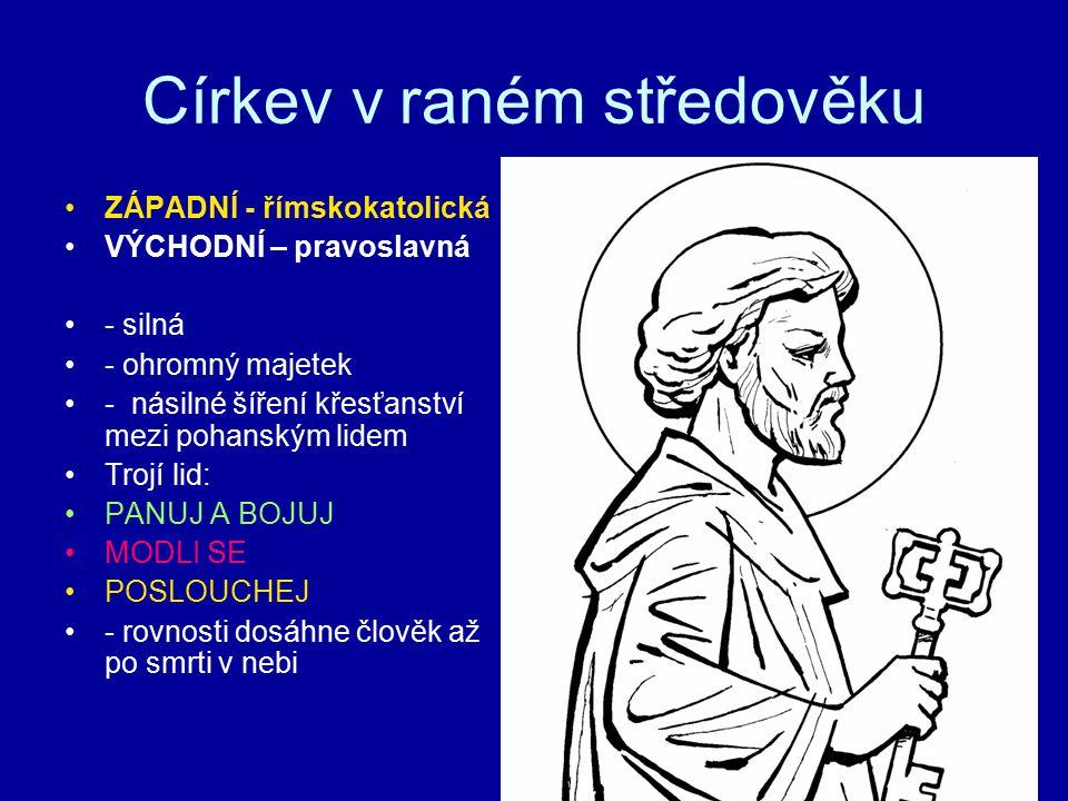 Církev v raném středověku ZÁPADNÍ - římskokatolická VÝCHODNÍ – pravoslavná - silná - ohromný majetek - násilné šíření křesťanství mezi pohanským lidem