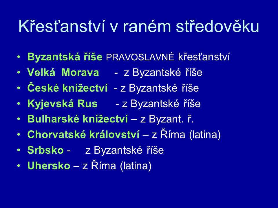 Křesťanství v raném středověku Byzantská říše PRAVOSLAVNÉ křesťanství Velká Morava - z Byzantské říše České knížectví - z Byzantské říše Kyjevská Rus