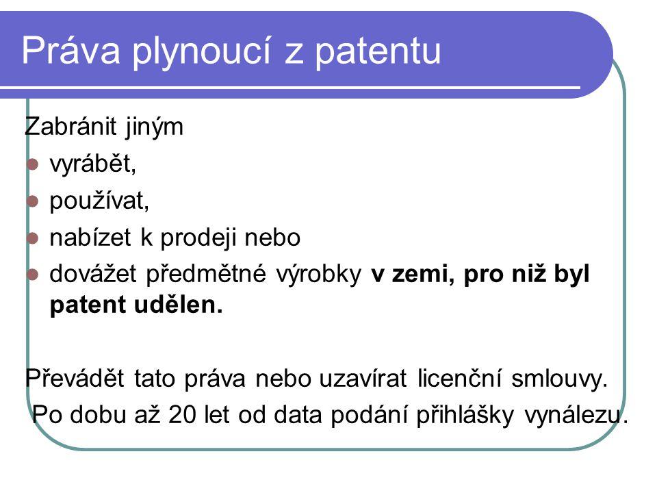 Práva plynoucí z patentu Zabránit jiným vyrábět, používat, nabízet k prodeji nebo dovážet předmětné výrobky v zemi, pro niž byl patent udělen.