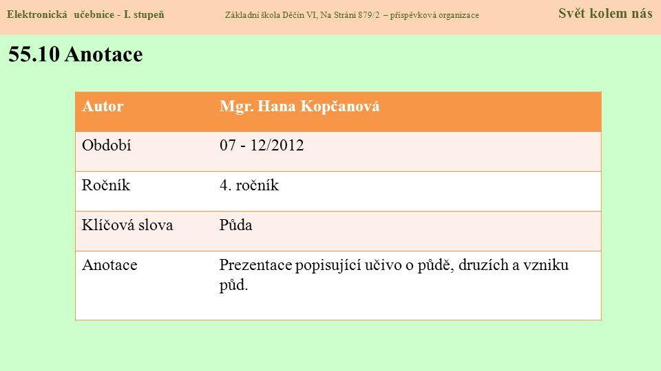 Elektronická učebnice - I. stupeň Základní škola Děčín VI, Na Stráni 879/2 – příspěvková organizace Svět kolem nás 55.10 Anotace AutorMgr. Hana Kopčan