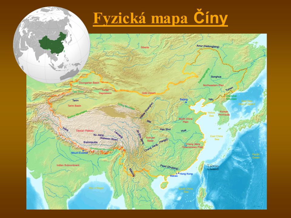 Fyzická mapa Číny