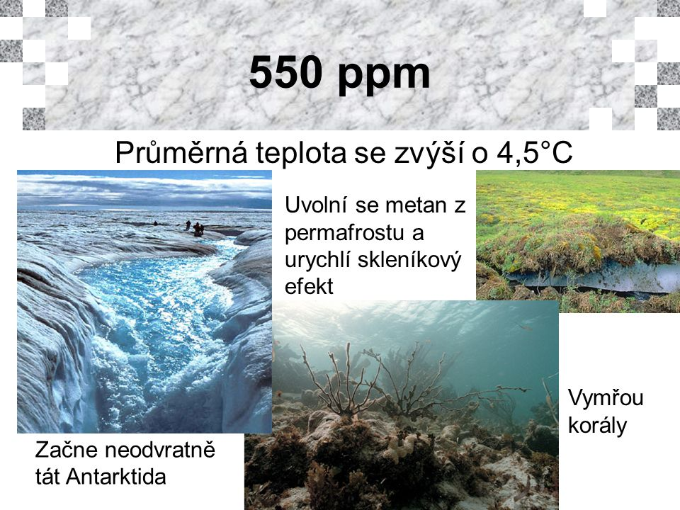550 ppm Průměrná teplota se zvýší o 4,5°C Vymřou korály Začne neodvratně tát Antarktida Uvolní se metan z permafrostu a urychlí skleníkový efekt