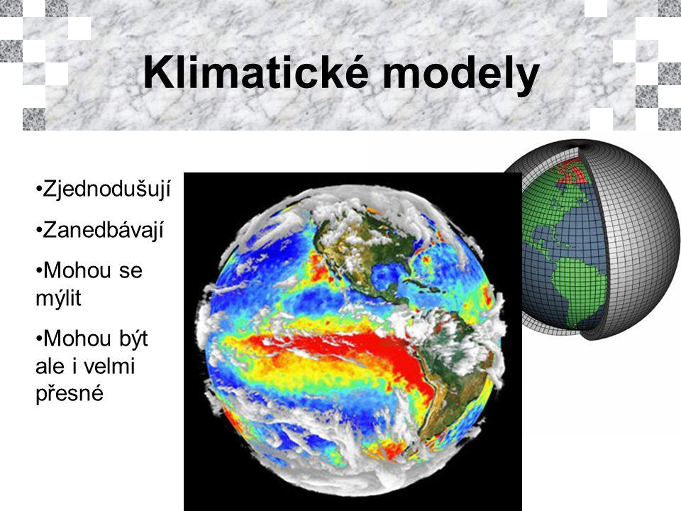 Klimatické modely Zjednodušují Zanedbávají Mohou se mýlit Mohou být ale i velmi přesné
