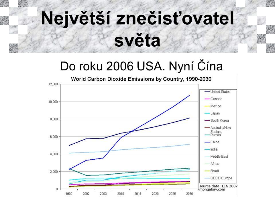 Největší znečisťovatel světa Do roku 2006 USA. Nyní Čína