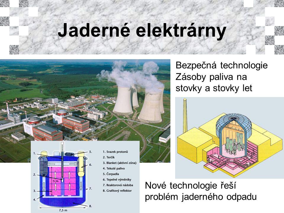 Jaderné elektrárny Bezpečná technologie Zásoby paliva na stovky a stovky let Nové technologie řeší problém jaderného odpadu