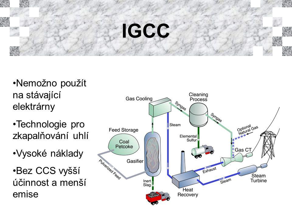 IGCC Nemožno použít na stávající elektrárny Technologie pro zkapalňování uhlí Vysoké náklady Bez CCS vyšší účinnost a menší emise